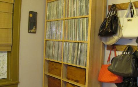 Oak Record Shelf